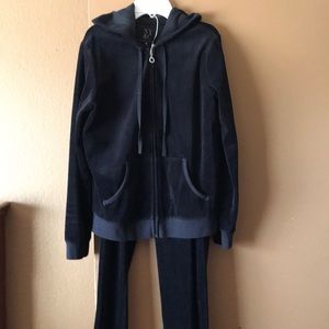 Ladies black velour jogging suit
